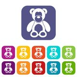 Teddy bear icons set. Vector illustration in flat style in colors red, blue, green, and other Royalty Free Stock Photography