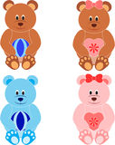 Teddy Bear Illustrations, Bear Toys Illustrations. Isolated teddy bear illustrations in pink, brown and blue, blue teddy bear, pink teddy bear, brown bear, blue Stock Image