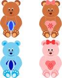 Teddy Bear Illustrations, oso juega ejemplos Imagen de archivo