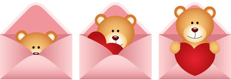 Teddy bear inside love letter Royalty Free Stock Images