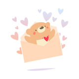 Teddy bear inside the love letter Royalty Free Stock Photo