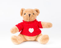 Teddy Bear on Isolate background. bow cute art nice love floor b. Aby play child one joy doll studio toy object animal concept romantic retro worry young give Stock Image