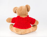 Teddy Bear on Isolate background. bow cute art nice love floor b. Aby play child one joy doll studio toy object animal concept romantic retro worry young give Royalty Free Stock Photography