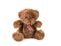 Teddy Bear on Isolate background. bow cute art nice love floor b. Aby play child one joy doll studio toy object animal concept romantic retro worry young give Royalty Free Stock Photo