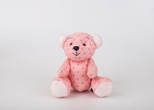 Teddy Bear on Isolate background. bow cute art nice love floor b. Aby play child one joy doll studio toy object animal concept romantic retro worry young give Stock Photography