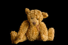 Teddy Bear Isolated On Black Arkivfoto