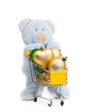 Teddy bear . Isolated over white. Royalty Free Stock Image