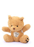 Teddy bear isolated on white. Brown teddy bear doll isolated on white background Royalty Free Stock Photo