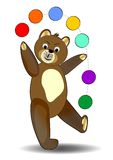 Teddy bear juggling with colored balls, cute bear  on white background, illustration for children Stock Photography