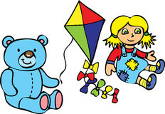 Teddy bear,kie, and rag doll Royalty Free Stock Photography