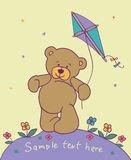 Teddy bear with kite. Cartoon background with teddy bear Stock Photos