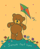 Teddy bear with kite. Cartoon background with teddy bear Royalty Free Stock Images