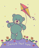 Teddy bear with kite. Cartoon background with teddy bear Stock Images