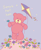 Teddy bear with kite. Cartoon background with teddy bear Stock Image