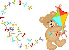 Teddy Bear with Kite Wind Stock Image