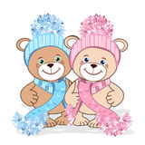 Teddy bear in a knitted hat. With a bubo. Colored Vector illustration Royalty Free Stock Photo
