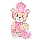 Teddy bear in a knitted hat. With a bubo. Colored Vector illustration Royalty Free Stock Photography