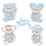 Teddy bear in a knitted hat. With a bubo. Colored Vector illustration. Set Stock Photography