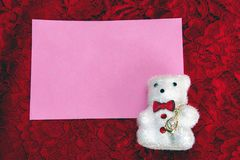 teddy bear on lace; background royalty free stock photography