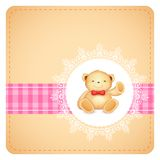 Teddy Bear in Lace background Stock Photo