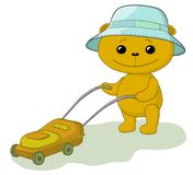 Teddy bear lawnmower Royalty Free Stock Image