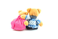 Teddy bear. Laying on a white background Royalty Free Stock Images