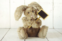 Teddy Bear Like Home Made Bunny Rabbit auf hölzernem weißem Backgroun Lizenzfreies Stockbild