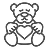 Teddy bear line icon. Plush toy vector illustration isolated on white. Kid toy outline style design, designed for web. And app. Eps 10 vector illustration