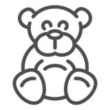 Teddy bear line icon. Plush toy vector illustration isolated on white. Ted outline style design, designed for web and. App. Eps 10 royalty free illustration