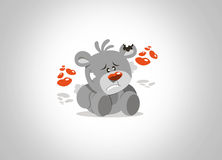 Teddy bear lonley in valentine day hearts nose and surrounded(valentine) Stock Image