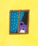 Teddy bear looking through the window. Acrylic illustration of Purple Teddy bear looking through the window Royalty Free Stock Photos