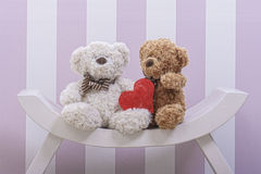 Teddy bear love. In chair Royalty Free Stock Photos
