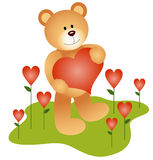 Teddy Bear in the Love Garden Royalty Free Stock Image
