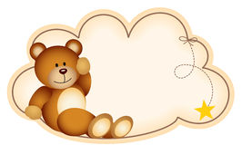 Teddy bear lying on the cloud Royalty Free Stock Images