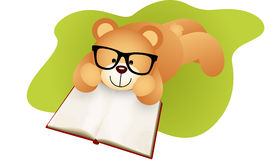 Teddy bear lying down reading a book Royalty Free Stock Image