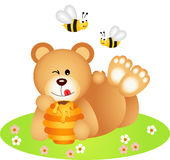 Teddy bear lying holding honey Stock Images