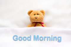 Teddy Bear lying in the white bed with message ' Good morning ' Royalty Free Stock Photo