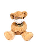 Teddy bear with mask. Virus risk, contagious danger,Teddy bear with mask Stock Image
