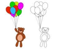 Teddy Bear med färgrika ballonger som färgar sidan för barn Royaltyfri Bild