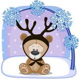 Teddy Bear med horn på kronhjort Arkivfoton