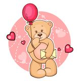 Teddy bear with message. Cartoon Valentine Illustration Of Cute Teddy Bear With Balloon And Message Stock Photography