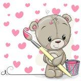 Teddy Bear met borstel trekt harten stock illustratie