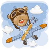 Teddy Bear mignon vole sur un avion illustration stock