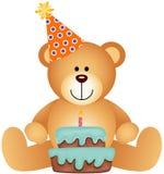 Teddy Bear mit Geburtstags-Kuchen lizenzfreie abbildung