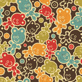 Teddy bear monster seamless pattern. Royalty Free Stock Image