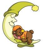 Teddy bear and Moon sleep Stock Photography