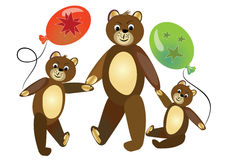 Teddy bear mother with teddy bear children. Cute teddy bears children carrying bals.  Stock Photos