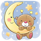 Teddy Bear na lua Imagem de Stock