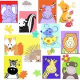 Teddy bear nature set pattern. Teddy bear with animals nature set pattern royalty free illustration