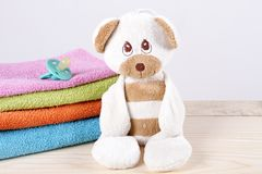 Teddy bear newborn nipple, terry towels stock photo